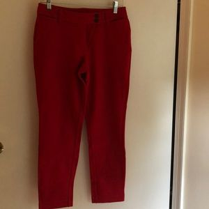 Lands'End Women's Mid Rise Ankle Pants Rich Red